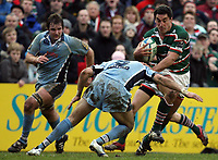 Photo: Rich Eaton.<br /> <br /> Leicester Tigers v Cardiff Blues. Heineken Cup. 13/01/2007. Daryl Gibson right attacks for Leicester tackled by Mike Phillips of Cardiff