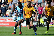Newport County defender Dan Butler (3) battles for possession with Wycombe Wanderers striker Josh Umerah (26) 0-0 during the EFL Sky Bet League 2 match between Newport County and Wycombe Wanderers at Rodney Parade, Newport, Wales on 9 September 2017. Photo by Alan Franklin.