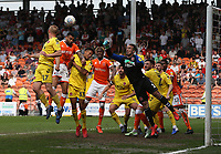 Blackpool's Curtis Tilt battles with Fleetwood Town's Paddy Madden and James Hill but sees his header cleared by goalkeeper Alex Cairns<br /> <br /> Photographer Stephen White/CameraSport<br /> <br /> The EFL Sky Bet League One - Blackpool v Fleetwood Town - Monday 22nd April 2019 - Bloomfield Road - Blackpool<br /> <br /> World Copyright © 2019 CameraSport. All rights reserved. 43 Linden Ave. Countesthorpe. Leicester. England. LE8 5PG - Tel: +44 (0) 116 277 4147 - admin@camerasport.com - www.camerasport.com<br /> <br /> Photographer Stephen White/CameraSport<br /> <br /> The EFL Sky Bet Championship - Preston North End v Ipswich Town - Friday 19th April 2019 - Deepdale Stadium - Preston<br /> <br /> World Copyright © 2019 CameraSport. All rights reserved. 43 Linden Ave. Countesthorpe. Leicester. England. LE8 5PG - Tel: +44 (0) 116 277 4147 - admin@camerasport.com - www.camerasport.com