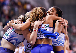 Great Britain's 4x400 relay team celebrate after winning silver in the relay during day three of the European Indoor Athletics Championships at the Emirates Arena, Glasgow.