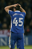 Fernando Forestieri (Sheffield Wednesday) holds his head in his hands having missed a chance to put Sheffield Wednesday back in front during the first period of extra time of the EFL Sky Bet Championship play off second leg match between Sheffield Wednesday and Huddersfield Town at Hillsborough, Sheffield, England on 17 May 2017. Photo by Mark P Doherty.