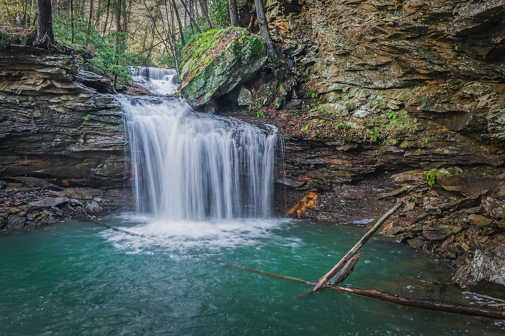 Tucked away surrounded by greenery year round, guarded by rhododendron thickets and steep valleys lies a secluded waterfall on Ramsey Branch in the Gauley River National Recreation Area of West Virginia.