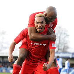 TELFORD COPYRIGHT MIKE SHERIDAN GOAL. Marcus Dinanga of Telford celebrates with Theo Streete of Telford after he scores to make it 1-1 during the Vanarama Conference North fixture between Guiseley and AFC Telford United at Nethermoor Park on Saturday, February 8, 2020.<br /> <br /> Picture credit: Mike Sheridan/Ultrapress<br /> <br /> MS201920-046