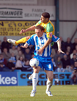 Photo: Ashley Pickering.<br />Colchester United v Norwich City. Coca Cola Championship. 31/03/2007.<br />Youssef Safri of Norwich (yellow) and Kevin Watson of Colchester