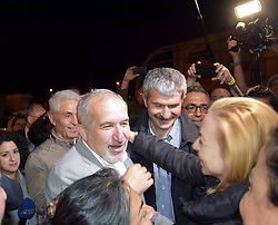 Cumhuriyet Newspaper chairman Akin Atalay (C) reacts after being released from Silivri prison, in Silivri, outside of Istanbul, Turkey on April 26, 2018. - A Turkish court on April 25 convicted journalists from the opposition Cumhuriyet Daily newspaper for helping outlawed 'terrorist' organisations, but editors remained defiant vowing their 'honourable' journalism would not stop. Cumhuriyet -- which means simply 'Republic' -- was set up in 1924 after the Turkish republic was founded in 1923. Photo by Mehmet Yirun/DHA/Depo Photos/ABACAPRESS.COM