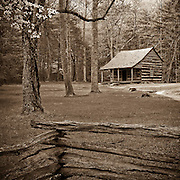 A lone cabin in the woods at Cades Cove in the Great Smoky Mountains National Park.