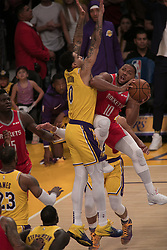 October 20, 2018 - Los Angeles, California, U.S - Kyle Kuzma #0 of the Los Angeles Lakers blocks Eric Gordon #10 of the Houston Rockets on Saturday October 20, 2018 at the Staples Center in Los Angeles, California. Rondo and Paul were ejected. (Credit Image: © Prensa Internacional via ZUMA Wire)
