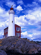 Fisgard Lighthouse, built in 1860, is the oldest lighthouse on Canada's West Coast, Esquimalt Harbour, Fisgard Lighthouse National Historic Site, Victoria, British Columbia, Canada.