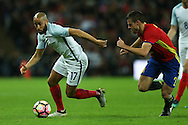 Andros Townsend of England goes past Cesar Azpilicueta of Spain. England v Spain, Football international friendly at Wembley Stadium in London on Tuesday 15th November 2016.<br /> pic by John Patrick Fletcher, Andrew Orchard sports photography.