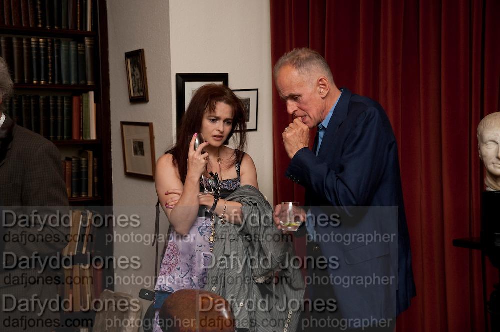 HELENA BONHAM CARTER; JAMES FOX, Freud Museum dinner, Maresfield Gardens. 16 June 2011. <br /> <br />  , -DO NOT ARCHIVE-© Copyright Photograph by Dafydd Jones. 248 Clapham Rd. London SW9 0PZ. Tel 0207 820 0771. www.dafjones.com.
