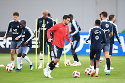 MOSCOW, July 4, 2018  France's Hugo Lloris (front) attends a training session near Moscow, Russia, on July 4, 2018. France will face Uruguay in a quarter-final match of the 2018 FIFA World Cup on July 6. (Credit Image: © Du Yu/Xinhua via ZUMA Wire)