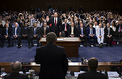 June 8, 2017 - Washington, District Columbia, United States of America - Former FBI Director James Comey is sworn in during a Senate Intelligence Committee hearing on Capitol Hill, Thursday, June 8, 2017, in Washington. DOUG MILLS/POOL/PI (Credit Image: © Prensa Internacional via ZUMA Wire)