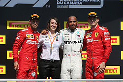 June 9, 2019 - Montreal, Canada - xa9; Photo4 / LaPresse.09/06/2019 Montreal, Canada.Sport .Grand Prix Formula One Canada 2019.In the pic: podium .1st position Lewis Hamilton (GBR) Mercedes AMG F1 W10 .2nd position Sebastian Vettel (GER) Scuderia Ferrari SF90 .3rd position Charles Leclerc (MON) Scuderia Ferrari SF90 (Credit Image: © Photo4/Lapresse via ZUMA Press)