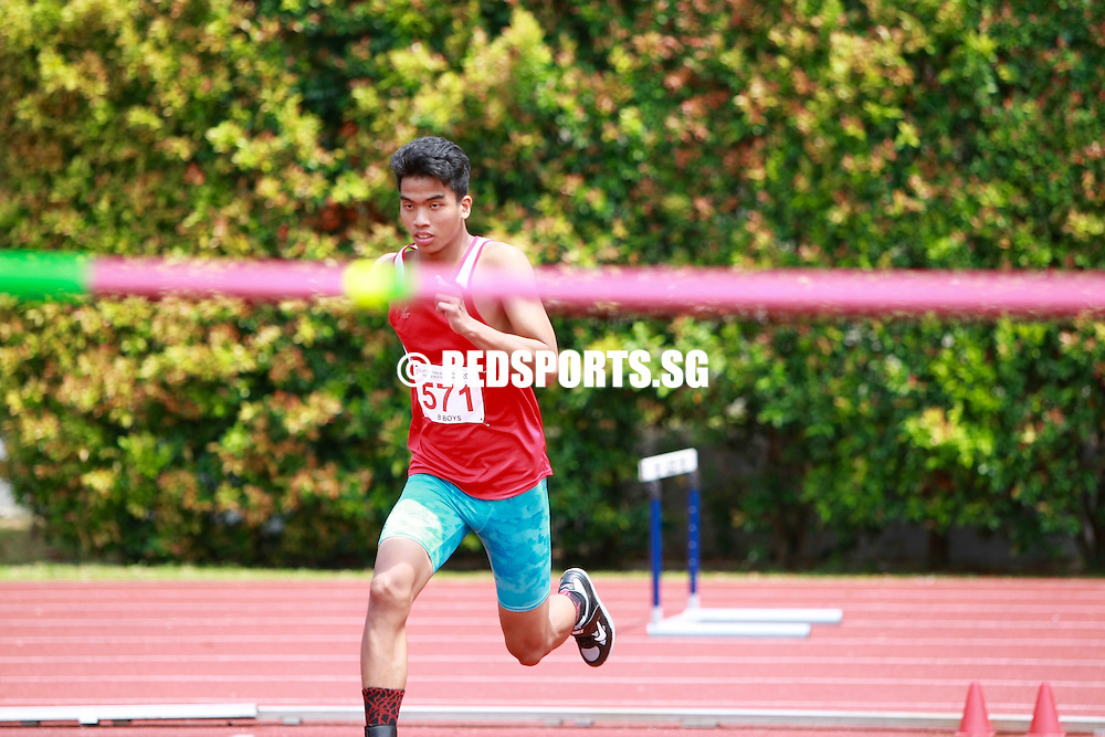 Bishan Stadium, Thursday, April 14, 2016 — Hairul Syamil Mardan of Jurong Secondary clinched the B Division Boys' high jump gold for the second year running at the 57th National Schools Track and Field Championships, jumping over 1.88m.