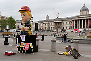 On US President Donald Trump's second day of a controversial three-day state visit to the UK, a Trump effigy tweets while sitting on a golden toilet before protesters voice their opposition to the 45th American President, in Trafalgar Square, on 4th June 2019, in London England.