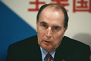 François Mitterrand at a press conference of leaders at the Economic Summit in Tokyo on May 6, 1986.<br />Photo by Dennis Brack