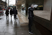 Vaping in the street in London, England, United Kingdom. Vaping is often seen as a safe or safer alternative to smoking. It is also relatively new to the market, only hitting the mainstream over the past decade or so.