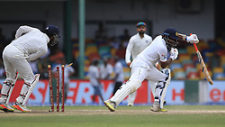 August 5, 2017 - Colombo, Sri Lanka - Sri Lankan cricketer Dilruwan Perera is bowled out by  Indian spin bowler Ravichandran Ashwin.. (unseen) during the 3rd Day's play in the 2nd Test match between Sri Lanka and India at the SSC international cricket stadium at the capital city of Colombo, Sri Lanka on Saturday 5th August 2017. (Credit Image: © Tharaka Basnayaka/NurPhoto via ZUMA Press)