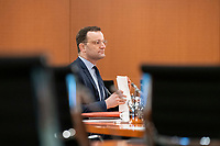 01 APR 2020, BERLIN/GERMANY:<br /> Jens Spahn, CDU, Bundesgesundheitsminister, vor Beginn der Kabinettsitzung, die aufgrund der Abstandsregeln wegen der Corona-Pandemie im  Internationalen Konferenzsaal stattfindet, Bundeskanzleramt<br /> IMAGE: 20200401-01-005<br /> KEYWORDS: Kabinett, Sitzung