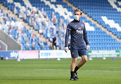 Exeter City coach Dan Green seen wearing a mask before kick off - Mandatory by-line: Arron Gent/JMP - 18/06/2020 - FOOTBALL - JobServe Community Stadium - Colchester, England - Colchester United v Exeter City - Sky Bet League Two Play-off 1st Leg