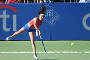 OCEANE DODIN hits a serve during her semifinal match at the Citi Open at the Rock Creek Park Tennis Center in Washington, D.C.