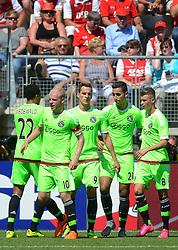 09-08-2015 NED: AZ - Ajax, Alkmaar<br /> Ajax verslaat AZ vrij eenvoudig met 3-0 / Anwar El Ghazi #21 scoort de 2-0, Arkadiusz Milik #9, Davy Klaassen #10, Joël Veltman #3, Daley Sinkgraven #8