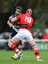Bristol Rugby replacement Jamal Ford-Robinson is closed down by London Welsh replacement Ben West - Mandatory byline: Dougie Allward/JMP - 07966 386802 - 13/09/2015 - RUGBY UNION - Old Deer Park - Richmond, London, England - London Welsh v Bristol Rugby - Greene King IPA Championship.
