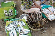 A Sasak woman sells fresh and grilled locally caught small fish at the traditional produce market in Kuta, Lombok, Indonesia. The predominantly Muslim Sasak people are the native inhabitants of Lombok where they form 85% of the population.
