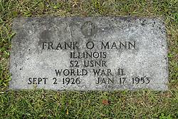 31 August 2017:   Veterans graves in Park Hill Cemetery in eastern McLean County.<br /> <br /> Frank O Mann  Illinois S2 USNR World War II Sept 2 1926 Jan 17 1953