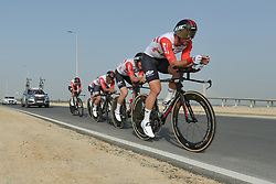 February 24, 2019 - Abu Dhabi, United Arab Emirates - Members of Team Lotto Soudal from Belgium in action, during the Team Time Trial, the opening ADNOC stage of the inaugural UAE Tour 2019..On Sunday, February 24, 2019, Abu Dhabi, United Arab Emirates. (Credit Image: © Artur Widak/NurPhoto via ZUMA Press)