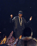 EXCLUSIVE: Jay Z and Kayne West perform at the 'Watch the Throne' Tour Concert at the Staples Center in Downtown Los Angeles, CA.<br />