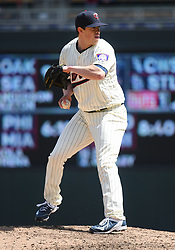 May 2, 2018 - Minneapolis, MN, U.S. - MINNEAPOLIS, MN - MAY 02: Minnesota Twins Pitcher Trevor Hildenberger (39) throws to 1st during a MLB game between the Minnesota Twins and Toronto Blue Jays on May 2, 2018 at Target Field in Minneapolis, MN.The Twins defeated the Blue Jays 4-0.(Photo by Nick Wosika/Icon Sportswire) (Credit Image: © Nick Wosika/Icon SMI via ZUMA Press)