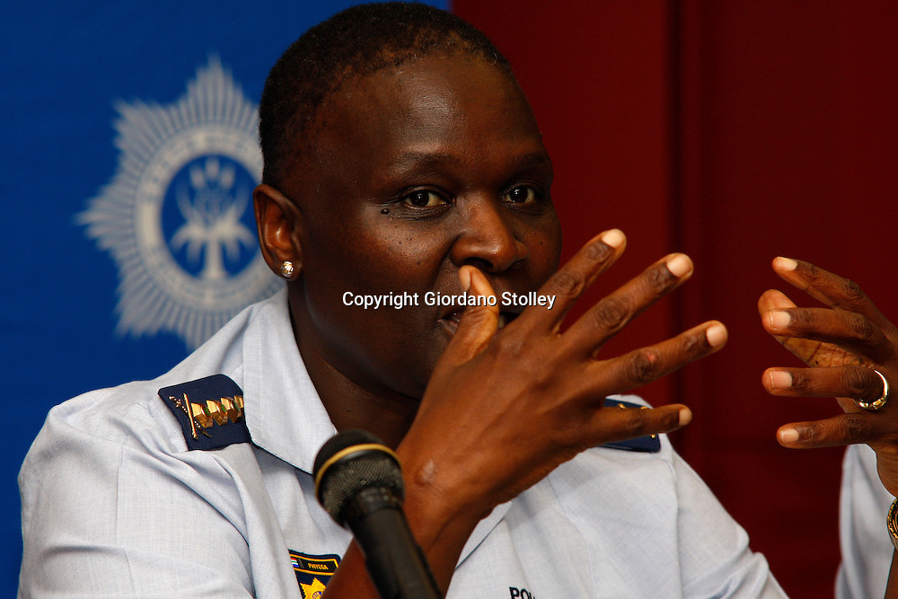 DURBAN - 7 February 2014 - South Africa's national police commissioner Riyah Phiyega makes a point at a press conference held on the side line of a conference attended by 1500 police station commanders at Durban's International Convention Centre. Picture: Allied Picture Press/APP