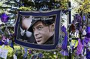 Large tapestry portrait Prince Rogers Nelson 1958-2016 with white peace dove. Paisley Park Studios Chanhassen Minnesota MN USA