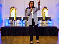 April 27, 2019 - Stuart, Iowa, U.S - US Representative TULSI GABBARD, (D-HI) a candidate for the Democratic nomination for the US presidency, talks to Iowa voters at the Reaching Rural Voters Forum in Stuart. The forum was an outreach by Democrats in Iowa's 3rd Congressional District to mobilize Democratic voters statewide. The Iowa Caucuses will be on Feb. 3, 2020. (Credit Image: © Jack Kurtz/ZUMA Wire)