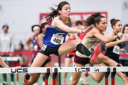 womens 60 meters hurdle, heat 4, Colby<br /> BU John Terrier Classic <br /> Indoor Track & Field Meet