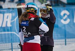 Kummer Patrizia and Joerg Selina during the woman's Snowboard giant slalom of the FIS Snowboard World Cup 2017/18 in Rogla, Slovenia, on January 21, 2018. Photo by Urban Meglic / Sportida
