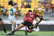 Hurricanes Jordie Barrett in action in the Super Rugby match, Hurricanes v Crusaders, Sky Stadium, Wellington, Sunday, April 11, 2021. Copyright photo: Kerry Marshall / www.photosport.nz