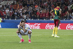 MOSCOW, June 19, 2017  Chile's Eduardo Vargas (L) reacts during the 2017 Confederations Cup football Group B match against Cameroon in Moscow, Russia, June 18, 2017. (Credit Image: © Evgeny Sinitsyn/Xinhua via ZUMA Wire)