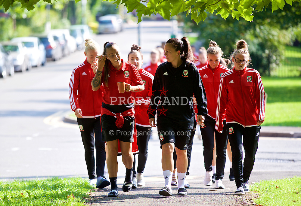 NEWPORT, WALES - Friday, August 31, 2018: Wales' Natasha Harding, Bethan Lloyd and Rachel Rowe during a pre-match team walk ahead of the FIFA Women's World Cup 2019 Qualifying Round Group 1 match between Wales and England. (Pic by David Rawcliffe/Propaganda)