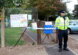"""Didcot,Oxfordshire Wednesday 12th October 2016 GV showing Play Park sealed off after a woman was raped yards from a School Police  are appealing for witnesses following an incident of rape in Didcot this evening.<br /> <br /> At around 7pm a member of the public phoned police to say they had located a distressed woman in Newlands Avenue.<br /> <br /> The victim, a woman aged in her thirties, reported having been raped by a man while inside nearby Edmonds Park.<br /> <br /> The victim is being offered support by specially trained officers.<br /> <br /> A cordon  is in place in Edmonds Park and will remain in place while officers are carrying out enquiries in the area.<br /> <br /> Senior investigating officer, Det Ch Insp Mark Glover, said: """"Officers are currently in the early stages of making enquiries in this investigation and ensuring the victim receives the appropriate support.<br /> <br /> """"I would like to appeal for any witnesses, or anyone who saw anything suspicious in this area at around the time of the incident, to contact police. Even if details seem insignificant to you, I urge you to come forward, as they may be important to the investigation.<br /> <br /> """"Officers are carrying out patrols in the area and anyone who has any information, or has any concerns, should approach and speak to an officer or call 101.""""<br /> <br /> Anyone with any information about the incident should contact the 24-hour Thames Valley Police enquiry centre on 101.©UKNIP"""