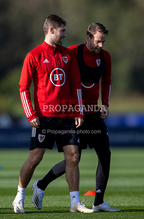 CARDIFF, WALES - Wednesday, October 7, 2020: Wales' Ben Davies (L) and Chris Gunter during a training session at the Vale Resort ahead of the International Friendly match against England. (Pic by David Rawcliffe/Propaganda)