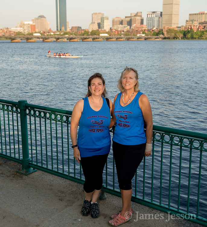 Wellness Warrior co-president Erica Bernstein (left), of Boston, and team co-captain Joan Pratt, of Dedham, pose for a portrait before practice on the Charles River near the MIT Pierce Boathouse in Cambridge, May 17, 2017.   [Wicked Local Photo/James Jesson]