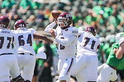 Sep 5, 2020; Huntington, West Virginia, USA; Eastern Kentucky Colonels quarterback Parker McKinney (18) throws a pass during the first quarter against the Marshall Thundering Herd at Joan C. Edwards Stadium. Mandatory Credit: Ben Queen-USA TODAY Sports