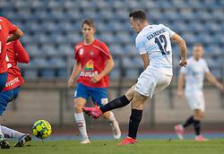 Sebastian Czajkowski (FC Helsingør) scorer til 0-1 under kampen i 1. Division mellem Hvidovre IF og FC Helsingør den 15. september 2020 på Pro Ventilation Arena, Hvidovre Stadion (Foto: Claus Birch).