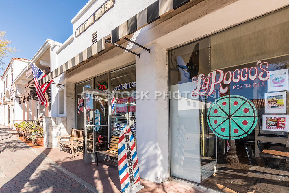 La Rocco's Pizzeria and Downtown Barbers on El Camino Real in San Clemente