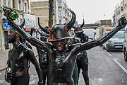 Jouvert, an early morning start involving coloured flour, oil and paints - The Sunday of the Notting Hill Carnival. The annual event on the streets of the Royal Borough of Kensington and Chelsea, over the August bank holiday weekend. It is led by members of the British West Indian community, and attracts around one million people annually, making it one of the world's largest street festivals.