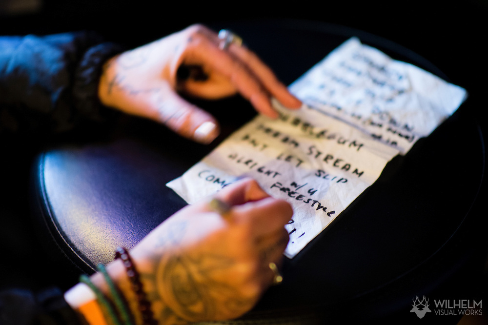 Detail of Lily Fangz set list at Red Bull Sound Select Presents Denver at the Larimer Lounge in Denver, CO, USA, on 18 December, 2015.