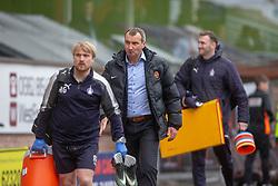 Dundee United's manager Csaba Laszlo at the end. Dundee United 1 v 0 Falkirk, Scottish Championship played 14/4/2018 at Dundee United's stadium Tannadice Park.