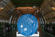 An American-designed General Electric jet engine inside a Russian-built Antonov-124 cargo aircraft at the Farnborough Airshow, on 16th July 2018, in Farnborough, England. The General Electric GEnx (General Electric Next-generation) is an advanced dual rotor, axial flow, high-bypass turbofan jet engine in production by GE Aviation for the Boeing 787 and 747-8.(Photo by Richard Baker / In Pictures via Getty Images)